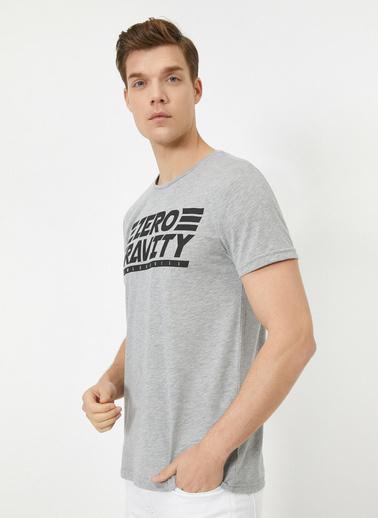 Koton Bisiklet Yaka Kisa Kollu Yazılı Baskılı T-Shirt Gri